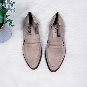 Free people tan suede leather loafers